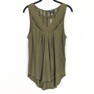 Lucky Brand Green Knit Crochet Top Size S NWT